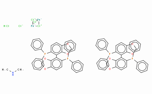 Dimethylammonium dichlorotri(μ-chloro)bis[(S)-(-)-5,5'-bis(diphenylphosphino)-4,4'-bi-1,3-benzodioxole]diruthenate(II),  [NH2Me2][{RuCl((S)-segphos)}2(μ-Cl)3]