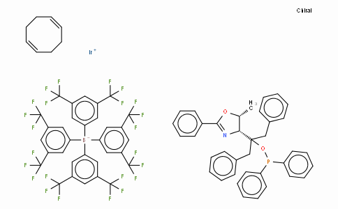 SC10651 | 880262-16-8 | ((4R,5R)-(+)-O-[1-Benzyl-1-(5-methyl-2-phenyl-4,5-dihydrooxazol-4-yl)-2-phenylethyl] (diphenylphosphinite)(1,5-COD)iridium(I) tetrakis(3,5-bis(trifluoromethyl)phenylborate