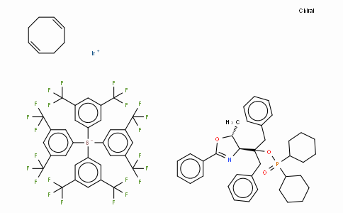 SC10654 | 880262-14-6 | ((4R,5R)-(+)-O-[1-Benzyl-1-(5-methyl-2-phenyl-4,5-dihydrooxazol-4-yl)-2-phenylethyl] (dicyclohexylphosphinite)(1,5-COD)iridium(I) tetrakis(3,5-bis(trifluoromethyl)phenylborate