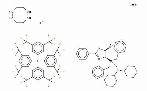 SC10655 | 583844-38-6 | ((4S,5S)-(-)-O-[1-Benzyl-1-(5-methyl-2-phenyl-4,5-dihydrooxazol-4-yl)-2-phenylethyl]-dicyclohexylphosphinite)(1,5-COD)iridium(I) tetrakis(3,5-bis(trifluoromethyl)phenylborate