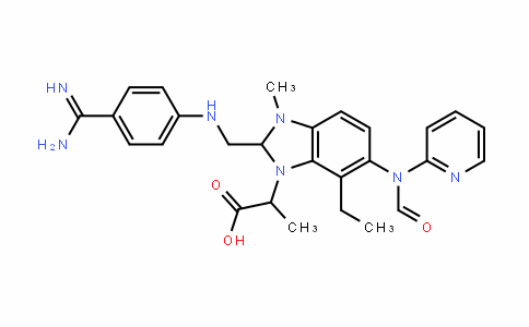 2-(2-((4-Carbamimidoylphenylamino)methyl)-7-ethyl-3-methyl-6-(N-(pyridin-2-yl)formamido)-2,3-dihydro-1H-benzo[d]imidazol-1-yl)propanoic acid