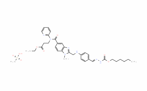(E)-hexyl 2-(4-((5-((3-ethoxy-3-oxopropyl)(pyridin-2-yl)carbamoyl)-1-methyl-1H-benzo[d]imidazol-2-yl)methylamino)benzylidene)hydrazinecarboxylate methanesulfonate