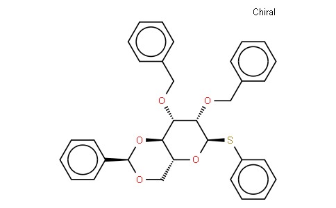 2,3-bis-O-(phenylmethyl)-4,6-O-[(R)-phenylmethylene]-1-thio-α-D--pyranose phenyl phenyl ester