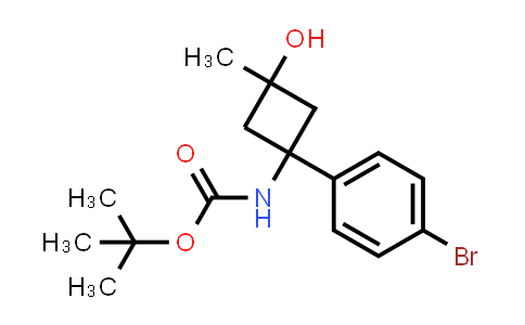 tert-butyl trans-1-(4-bromophenyl)-3-hydroxy-3-methylcyclobutylcarbamate