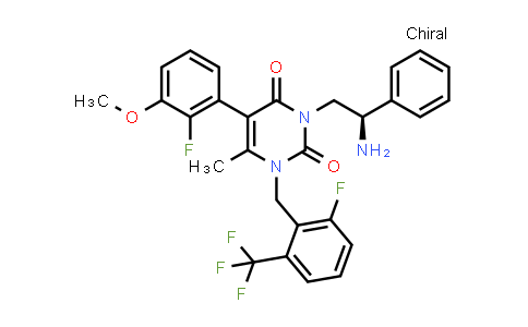 3-[(2R)-2-Amino-2-phenylethyl]-5-(2-fluoro-3-methoxyphenyl)-1-[[2-fluoro-6-(trifluoromethyl)phenyl]methyl]-6-methyl-2,4(1H,3H)-pyrimidinedione