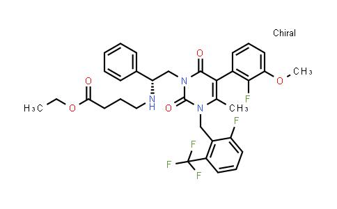 4-[[(1R)-2-[5-(2-fluoro-3-methoxyphenyl)-3-[[2-fluoro-6-(trifluoromethyl)phenyl]methyl]-3,6-dihydro-4-methyl-2,6-dioxo-1(2H)-pyrimidinyl]-1-phenylethyl]amino] ethyl ester