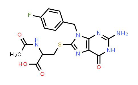 2-aCetamido-3-[[2-amino-9-[(4-fluorophenyl)methyl]-6-oxo-1H-purin-8-YL]sulfanyl]propanoic acid