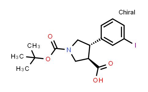 (3R,4S)-rel-1-(tert-Butoxycarbonyl)-4-(3-iodophenyl)pyrrolidine-3-carboxylic acid