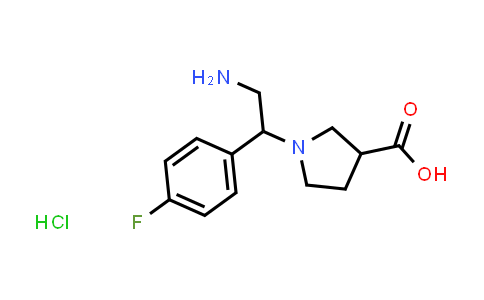 1-(2-Amino-1-(4-fluorophenyl)ethyl)pyrrolidine-3-carboxylic acid hydrochloride
