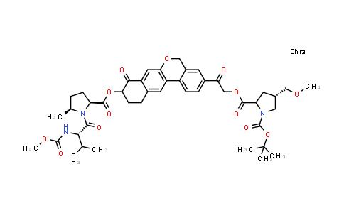 (2S,4S)-1-tert-Butyl 2-(2-(9-(((2S,5S)-1-((S)-2-((methoxycarbonyl)amino)-3-methylbutanoyl)-5-methylpyrrolidine-2-carbonyl)oxy)-8-oxo-8,9,10,11-tetrahydro-5H-dibenzo[c,g]chromen-3-yl)-2-oxoethyl) 4-(methoxymethyl)pyrrolidine-1,2-dicarboxylate